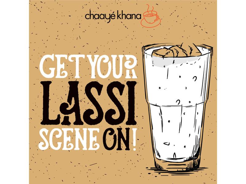 Advertising foodpost khana chaaye lassi identity type character logo brand illustrator vector branding design illustration socialmedia social advertising food