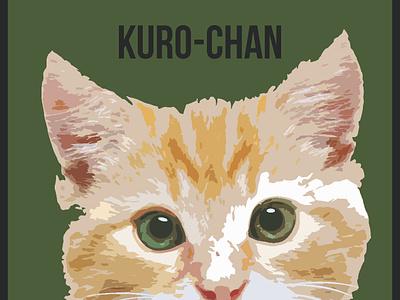 Kuro Chan animasi ux tipografi ikon vektor logo ilustrasi desain
