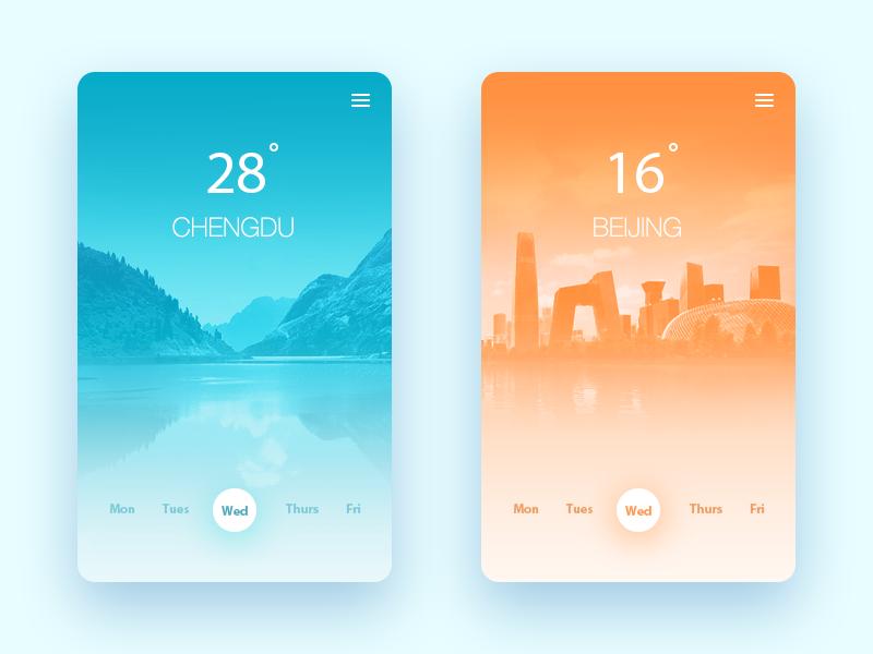 Weather design app weather ux ue ui