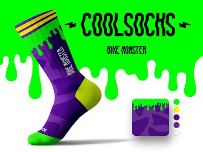 CoolSocks - bike monster branding vector illustration crazy cool socks socks design design