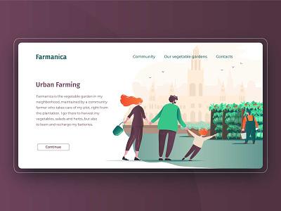 Urban farm on the roof ux ui website illustrator web flat vector illustration