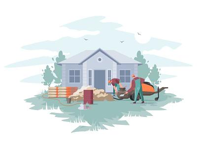 Construction work illustrator flat vector illustration