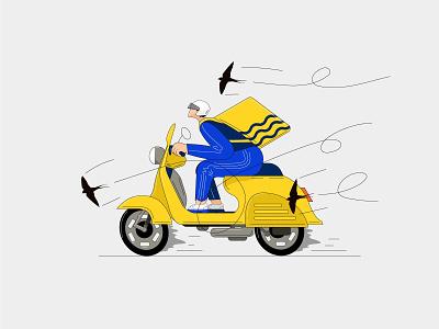 Delivery art scooter motorcyclist flat website illustrator vector web illustration delivery