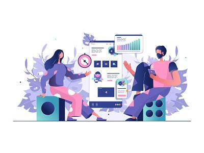 Illustration for the site indicators art brainstorming woman man conversions conversion website illustrator web flat vector illustration