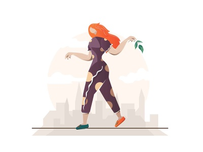 Soaring over the city. youth funambulist balancer equilibrist woman city art illustrator flat vector illustration