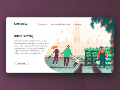 Urban farm Farmanica vector illustration ui website