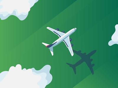 illustration plane field cloud vector plane
