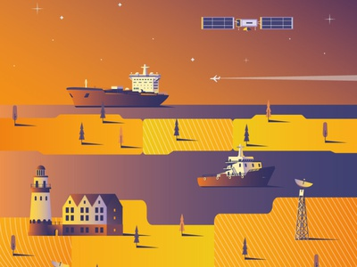 Illustration for the conference on space communications in Kalin web illustrator flat vector illustration