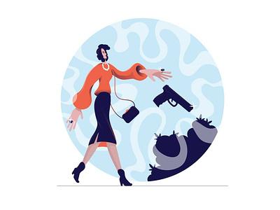 Business Woman gun illustrator vector illustration woman