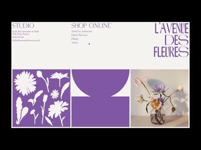 L'avenue des Fleures website page animation flowers ecommerce online shop design interaction ui ux animation motion website web