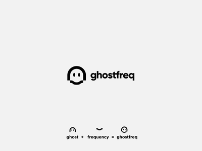 Ghostfreq (ghost + frequency) frequency ghost icon symbol design typography logo branding