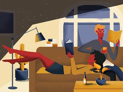 Quarantine reading coronavirus covid19 covid chill reading living room home interior design plants girl vector art colorful design vector illustration