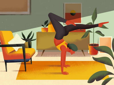 Morning miracle home fitness sport illustration yoga