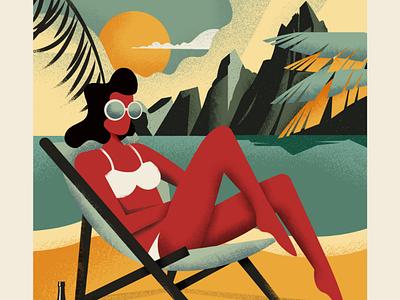 Travel shots eyeglasses beach landscape summer nature flat plants vector art girl colorful design vector illustration