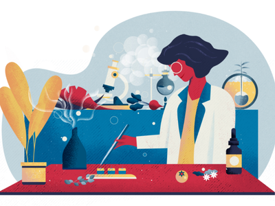 Designer culinaire gastronomy laboratory food designer illustration