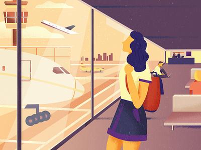 Departures travel airport plane covid19 flight vector art girl colorful design vector illustration