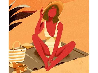 Holiday shot beach summer flat nature plants girl vector art colorful design vector illustration
