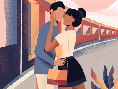 Travel illust transport travel illustration love train