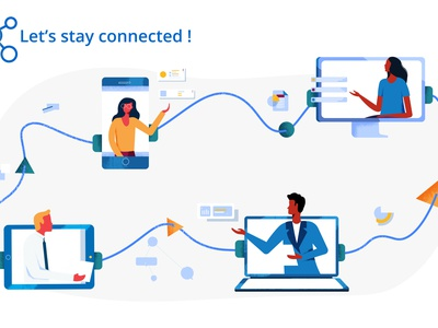 Lets stay connected flat branding connection smartphone pc tech team exchange communication design vector illustration