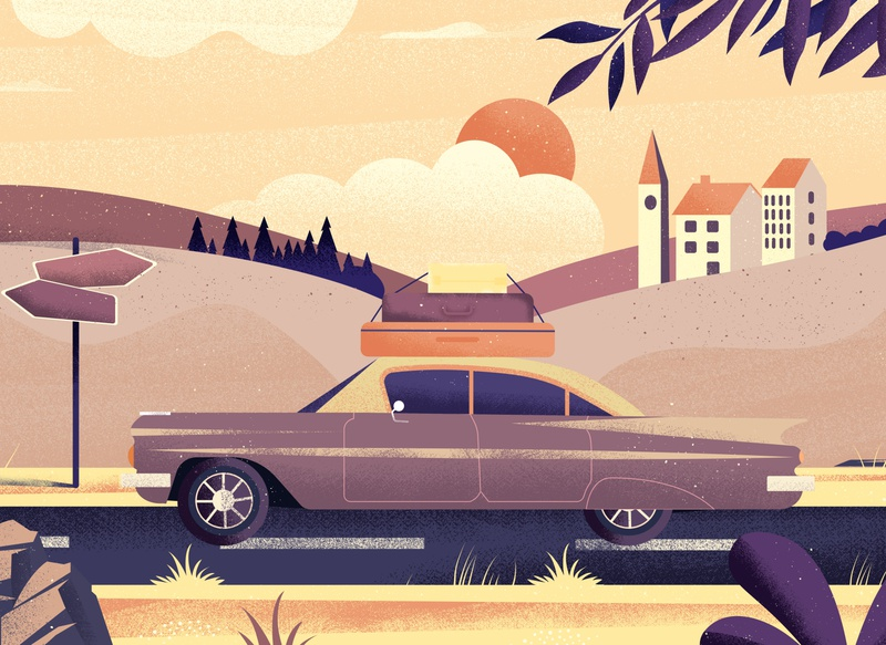 Who else need to leave ? travel car summer landscape nature plants vector art colorful design vector illustration