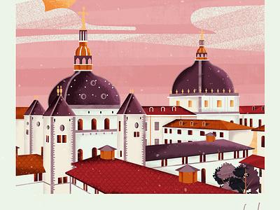 Grand Hotel Dieu ville de lyon lyon grand hôtel dieu landscape vector art colorful design vector illustration