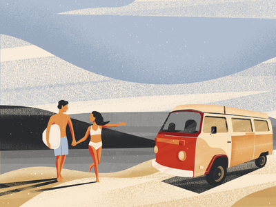 Summer times van summer love couple liberty beach illustration surfing