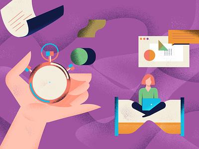 Relations Presse branding editorial illustration vector art girl colorful design vector illustration