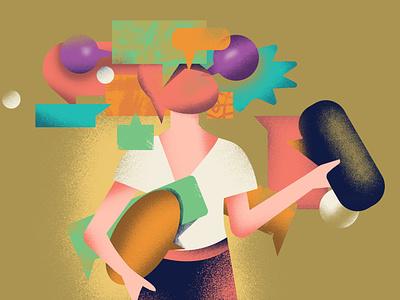 Lobbying editorial lobbying flat editorial illustration editorial design girl colorful design vector illustration