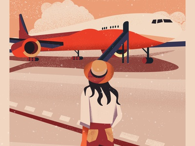Departures airport voyage travel plane landscape summer vector art girl colorful design vector illustration