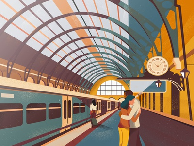 About today london trains goodbye railway station train railway vector art girl colorful design vector illustration