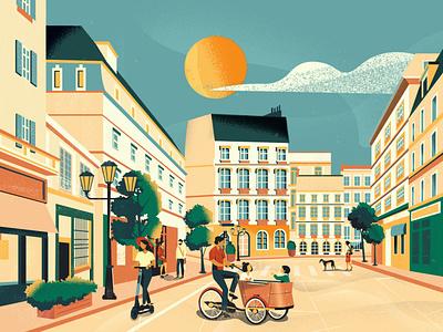 Cylantro bike city architecture green city biking city branding vector art colorful design vector illustration