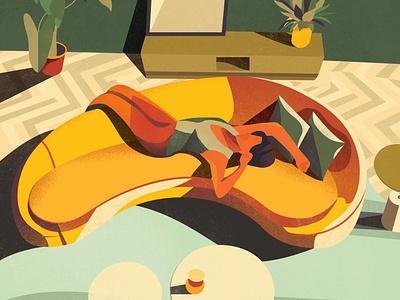 The magic power of siesta sleeping cozzy room living room interior plants vector art girl colorful design vector illustration