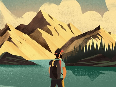 Outdoor illust landscape nature outdoor hiking alpes mountains vector art girl colorful design vector illustration