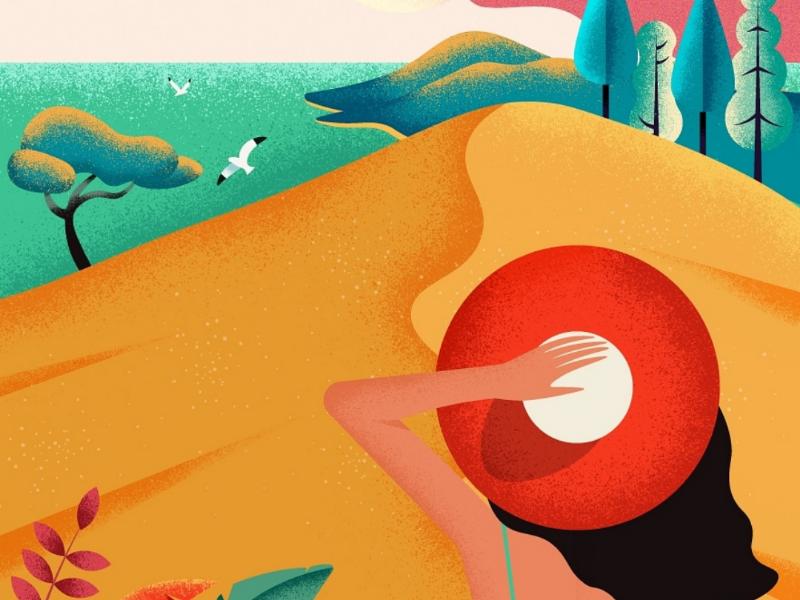 La dune du Pilat paysage plant illustrationart vector see summer nature la dune du pilat la dune