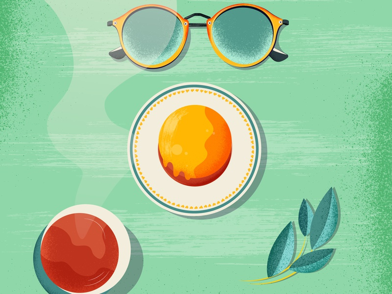 Summer Shots cake coffee eyeglasses plant summer colorful vector illustration