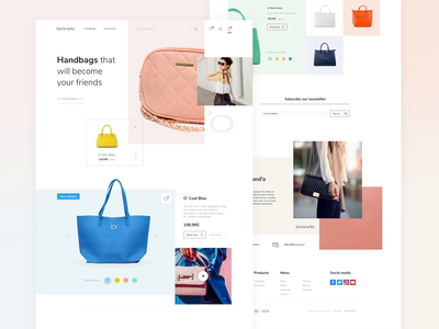 Brand'o fashion e-commerce yellow blue rose pink products cart branding colours pastels squares square fonts shop design store e-commerce