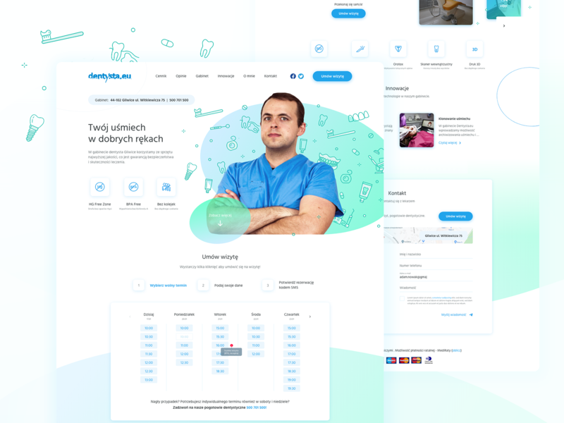 Dentist office landing page colours design webdesign ux ui icons ovals shapes stomatology medical green blue