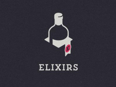 Elixirs logomark logo logomark wine luxury packaging branding bottle box ribbon