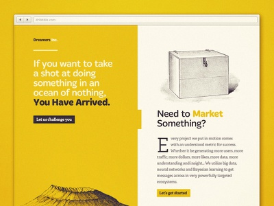 Dreamers Inc. webdesign landing page identity engraving illustrations