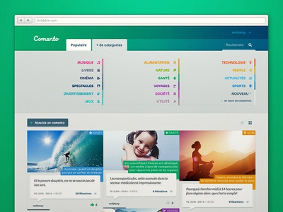 Comento website news comments portal grid categories identity start-up