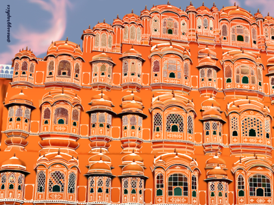 Hawa Mahal realistic digital jaipur hawa mahal adobe illustration