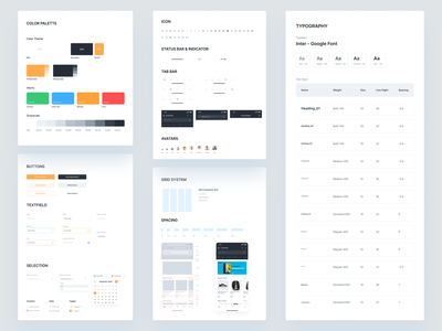 Design System Based on E commerce Mobile App variants components branding concept visual system ui elements ui components style guide spacing design system grid system color palette brand book