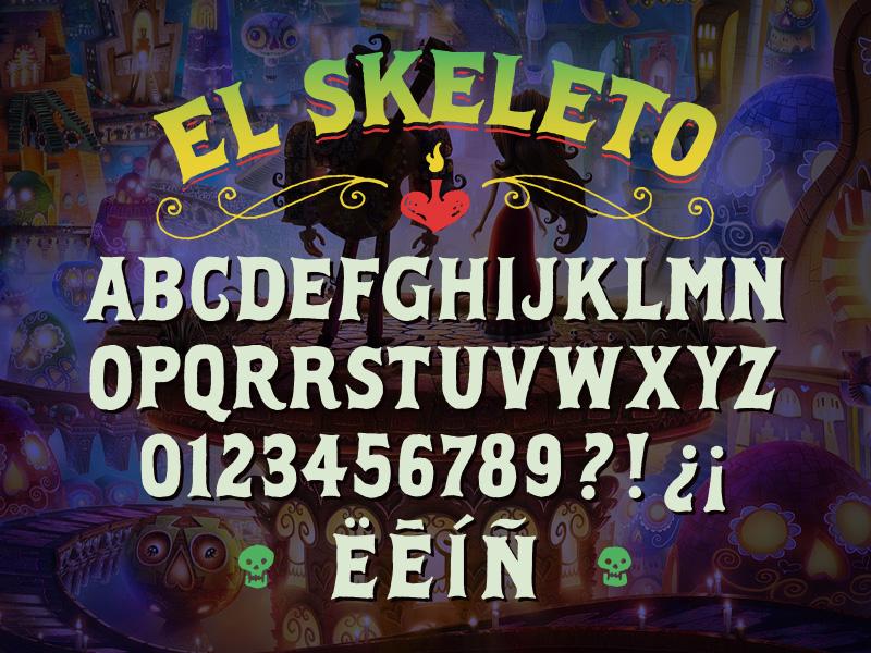 """The Book of Life """"El Skeleto"""" font design"""
