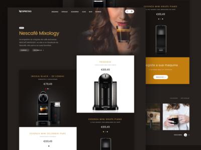 Nespresso: Coffee machines catalog espresso coffee shop deltaq nespresso dark coffee store commerce promo landing