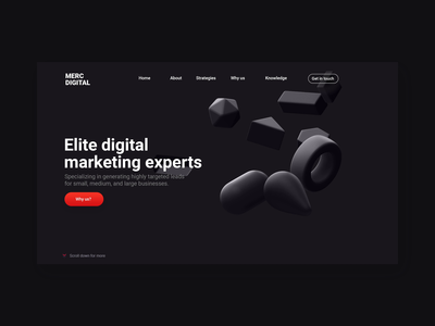 Merc Digital UI/UX Design Animation repiano ui design minimal design ux design digital marketing parallax black red 3d marketing
