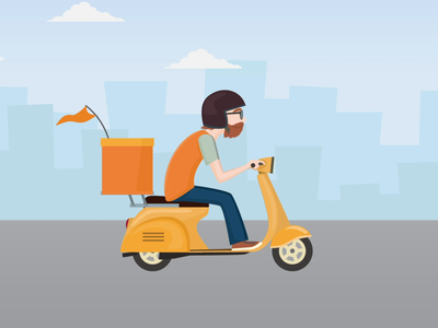 Scooter Delivery Animation daily practice delivery status 2danimation animation delivery truck delivery service scooter delivery