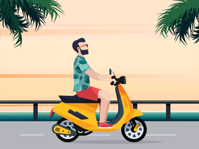 Summer, Beach and Scooter animation hot funny 2 wheels driving 2d animation horizont sunny repiano daily practice beach summer scooter animation