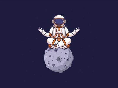 Astronaut Meditation Animation galaxy astronomy 2d animation animation planet space meditation repiano yoga astronaut