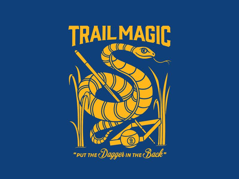 Trail Magic sports design nine ball snake tshirt art lettering typography logo badgedesign branding vector illustrator illustration graphic design