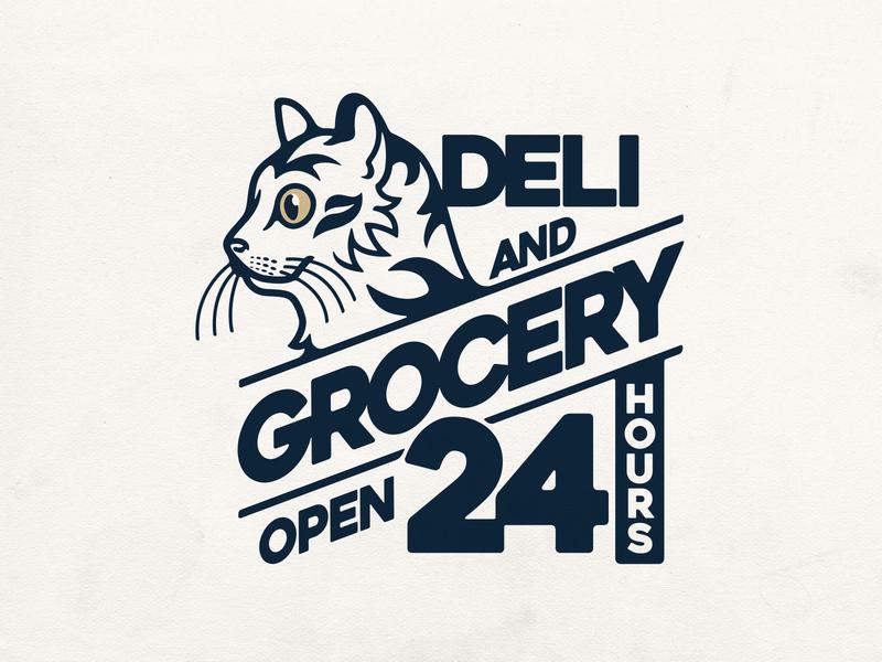 Deli & Grocery bodega cat brand identity nyc cat bodega lettering photoshop typography logo badgedesign branding vector illustrator illustration graphic design